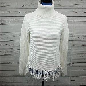 Michael Kors White Fringed Turtleneck Sweater NWOT